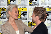 Wallis Day (L) and Shaun Sipos attend the 'Krypton' Press Line during Comic-Con International 2018 at Hilton Bayfront on July 21, 2018 in San Diego, California.