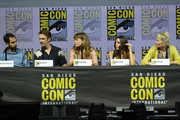 "(L-R) Nathaniel Halpern, Dan Stevens, Rachel Keller, Aubrey Plaza and Jean Smart onstage at the ""Legion"" discussion and Q&A during Comic-Con International 2018 at San Diego Convention Center on July 22, 2018 in San Diego, California."