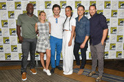 (L-R) Peter Mensah, Arielle Kebbel, Francois Arnaud, Parisa Fitz-Henley, Dylan Bruce and Jason Lewis attend the 'Midnight Texas' Press Line during Comic-Con International 2018 at Hilton Bayfront on July 21, 2018 in San Diego, California.