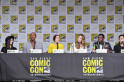 "(L-R) Katie McGrath, Mehcad Brooks, Chyler Leigh, Melissa Benoist, David Harewood, and Jesse Rath speak onstage at the ""Supergirl"" Special Video Presentation and Q&A during Comic-Con International 2018 at San Diego Convention Center on July 21, 2018 in San Diego, California."