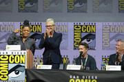 """(L-R) Yvette Nicole Brown, Jamie Lee Curtis, David Gordon Green, and Malek Akkad speak onstage at Universal Pictures' """"Glass"""" and """"Halloween"""" panels during Comic-Con International 2018 at San Diego Convention Center on July 20, 2018 in San Diego, California."""