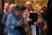 Queen Elizabeth II (L) is introduced to performers by by The Very Reverend Dr David Hoyle, Dean of Westminster, as she leaves after attending the Commonwealth Day Service 2020 on March 9, 2020 in London, England.
