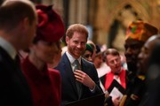 Prince Harry, Duke of Sussex (C) is introduced to performers as he leaves after attending the Commonwealth Day Service 2020 on March 9, 2020 in London, England.