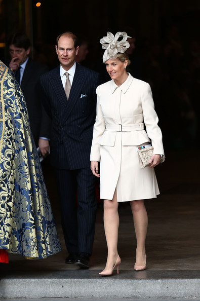 Edward, Earl of Wessex and Sophie, Countess of Wessex depart after attending the Commonwealth day observance service at Westminster Abbey on March 10, 2014 in London, England.