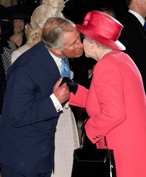 Prince Charles, Prince of Wales greets his mother Queen Elizabeth II as they attend the Commonwealth day observance service at Westminster Abbey on March 10, 2014 in London, England.