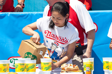 Sonya Thomas Competitors Vie For Ultimate Eating Prize At Nathan's Hot Dog Eating Contest