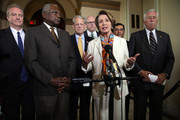U.S. House Minority Leader Rep. Nancy Pelosi (D-CA) (5th L) speaks as (L-R) Rep. Chris Van Hollen (D-MD), Assistant House Minority Leader Rep. James Clyburn (D-SC), Rep. Steve Israel (D-NY), House Democratic Caucus Vice Chairman Rep. Joseph Crowley (D-NY), House Democratic Caucus Chairman Rep. Xavier Becerra (D-CA), and House Minority Whip Rep. Steny Hoyer (D-MD) listen during a news conference after a House Democratic leadership meeting September 30, 2013 on Capitol Hill in Washington, DC. House Democratic leadership urged the Republicans to pass a clean continuing resolution to avoid a government shutdown.