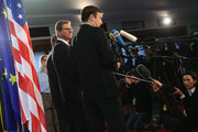 (From L to R) U.S. Congress member Gregory Meeks, German Foreign Minister Guido Westerwelle and U.S. Senator Chris Murphy speak to the media at the Foreign Ministry on November 25, 2013 in Berlin, Germany. The two American officials are in Berlin in an effort to mend relations between the two countries that have been under strain since revelations that the National Security Agency (NSA) had eavesdropped on the mobile phone of German Chancellor Angela Merkel over a multi-year period.