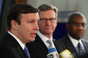 (From L to R) U.S. Senator Chris Murphy, German Foreign Minister Guido Westerwelle and U.S. Congress member Gregory Meeks speak to the media at the Foreign Ministry on November 25, 2013 in Berlin, Germany. The two American officials are in Berlin in an effort to mend relations between the two countries that have been under strain since revelations that the National Security Agency (NSA) had eavesdropped on the mobile phone of German Chancellor Angela Merkel over a multi-year period.