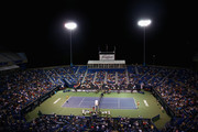 A general view of the match between Caroline Wozniaki of Denmark and Petra Kvitova of Czech Republic during the semifinal round of the Connecticut Open at Connecticut Tennis Center at Yale on August 28, 2015 in New Haven, Connecticut.