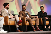 "(L-R) Darren Criss, Edgar Ramirez, and Ricky Martin speak onstage during the For Your Consideration Event for FX's ""The Assassination of Gianni Versace: American Crime Story"" at DGA Theater on March 19, 2018 in Los Angeles, California."