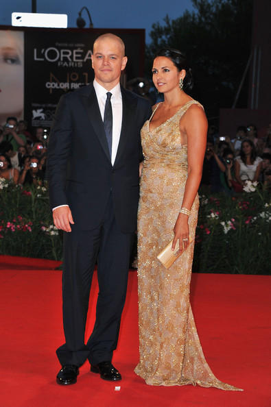 "Actor Matt Damon and Luciana Barroso attend the ""Contagion"" premiere during the 68th Venice Film Festival at Palazzo del Cinema on September 3, 2011 in Venice, Italy."