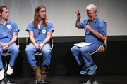 """Directors Turner Ross and Bill Ross and musician David Byrne speak onstage at the """"Contemporary Color"""" Premiere during the 2016 Tribeca Film Festival at BMCC John Zuccotti Theater on April 14, 2016 in New York City."""