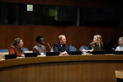 (L-R) Antonella D'Aprile, Lupita Nyong'o, Michael Kors and Cleo Wade attend In Conversation with Michael Kors, Lupita Nyong'o, and the World Food Programme at United Nations Headquarters on October 21, 2019 in New York City.