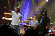 Hip-hop artists Pharrell Williams, Chad Hugo, and Shay Haley of N.E.R.D. perform during the Coors Light Search for the Coldest National competition and tour at Highline Ballroom on May 31, 2011 in New York, New York.