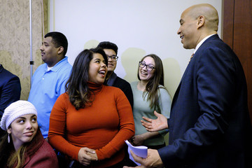 Corey Booker Democratic Leaders Hold Press Availability With Dreamers Attending SOTU