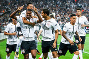 Jo #07 of Corinthians celebrates with his teammates after scoring their first goal during the match against Fluminense for the Brasileirao Series A 2017 at Arena Corinthians Stadium on November 15, 2017 in Sao Paulo, Brazil.