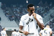 Jo of Corinthians celebrates after scoring their first goal during the match against Fluminense for the Brasileirao Series A 2017 at Arena Corinthians Stadium on November 15, 2017 in Sao Paulo, Brazil.