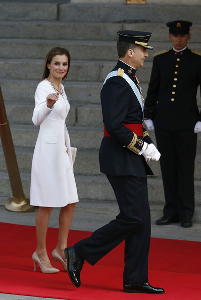 King Felipe VI of Spain and Queen Letizia of Spain arrive at the Lions Gate, the Congress of Deputies during the King's official coronation ceremony on June 19, 2014 in Madrid, Spain. The coronation of King Felipe VI is held in Madrid. His father, the former King Juan Carlos of Spain abdicated on June 2nd after a 39 year reign. The new King is joined by his wife Queen Letizia of Spain.