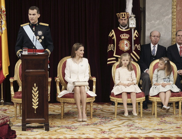 (LtoR) King Felipe VI of Spain, Queen Letizia of Spain with daughters Princess Sofia and Princess Leonor,  Princess of Asturias at the Congress of Deputies during his first speech to make his proclamation as King of Spain to the Spanish Parliament on June 19, 2014 in Madrid, Spain. The coronation of King Felipe VI is held in Madrid. His father, the former King Juan Carlos of Spain abdicated on June 2nd after a 39 year reign. The new King is joined by his wife Queen Letizia of Spain.