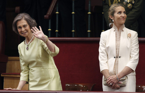 Queen Sofia and Princess Elena attend the Congress of Deputies for the proclamation of the King of Spain to the Spanish Parliament on June 19, 2014 in Madrid, Spain. The coronation of King Felipe VI is held in Madrid. His father, the former King Juan Carlos of Spain abdicated on June 2nd after a 39 year reign. The new King is joined by his wife Queen Letizia of Spain.