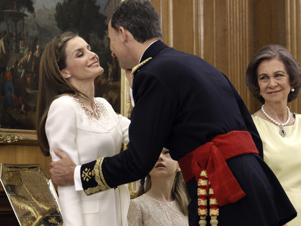 King Felipe VI of Spain attends a ceremony in the Hearing Room of Zarzuela Palace with Queen Letizia of Spain, and Queen Sofia prior to the King's official coronation ceremony on June 19, 2014 in Madrid, Spain. The coronation of King Felipe VI is held in Madrid. His father, the former King Juan Carlos of Spain abdicated on June 2nd after a 39 year reign. The new King is joined by his wife Queen Letizia of Spain.
