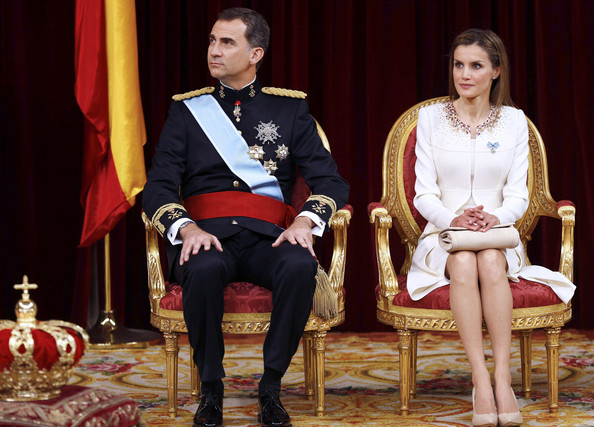 King Felipe VI of Spain and Queen Letizia of Spain attend the Congress of Deputies for the proclamation as King of Spain to the Spanish Parliament on June 19, 2014 in Madrid, Spain. The coronation of King Felipe VI is held in Madrid. His father, the former King Juan Carlos of Spain abdicated on June 2nd after a 39 year reign. The new King is joined by his wife Queen Letizia of Spain.