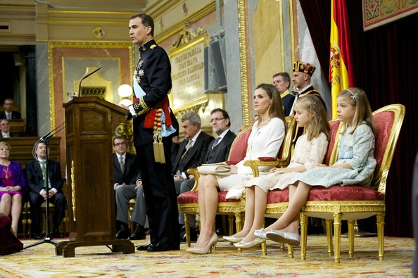King Felipe VI of Spain (L) attends along side Queen Letizia of Spain, Princess Leonor, Princess of Asturias and Princess Sofia of Spain during his inauguration at the Parliament (Congreso de los Diputados) on June 19, 2014 in Madrid, Spain. The coronation of King Felipe VI is held in Madrid. His father, the former King Juan Carlos of Spain abdicated on June 2nd after a 39 year reign. The new King is joined by his wife Queen Letizia of Spain