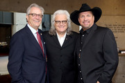 (L-R) Kyle Young of the CMHOF, Ricky Skaggs and Garth Brooks attend the 2018 Country Music Hall of Fame and Museum Medallion Ceremony honoring inductees Johnny Gimble, Ricky Skaggs and Dottie West at Country Music Hall of Fame and Museum on October 21, 2018 in Nashville, Tennessee.