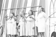 Image has been converted to black and white.) Deborah McCrary, Ann McCrary, Regina McCrary and Alfreda McCrary perform during Easter Brunch With The McCrary Sisters at Country Music Hall of Fame and Museum on March 27, 2016 in Nashville, Tennessee.