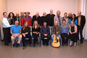 "(Back row, l-r) CMHOF's Michael Gray and Abi Tapia, Elliott Mazer, Ron.Cornelius, Old Crow Medicine Show's Critter Fuqua, Jon Langford,.Norbert Putnam, David Briggs, Mac Gayden, Lloyd Green, Wayne Moss,.Wanda Vick, and co-curator Pete Finney. (Front row, l-r) Kenny Malone,.Tracy Nelson, Deana Carter, Charlie McCoy, Steve Young, Old Crow.Medicine Show's Ketch Secor, and Oceana Gayden backstage during, Listen To The Band: The Nashville Cats In Concert With Special Guests For ""Dylan, Cash, And The Nashville Cats"" Exhibition Opening Weekend at the Country Music Hall of Fame and Museum on March 28, 2015 in Nashville, Tennessee."