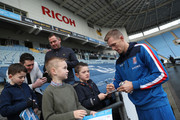 Darren Fletcher of West Bromwich Albion signs autographs for fans prior to The Emirates FA Cup Third Round match between Coventry City and Stoke City at Ricoh Arena on January 6, 2018 in Coventry, England.