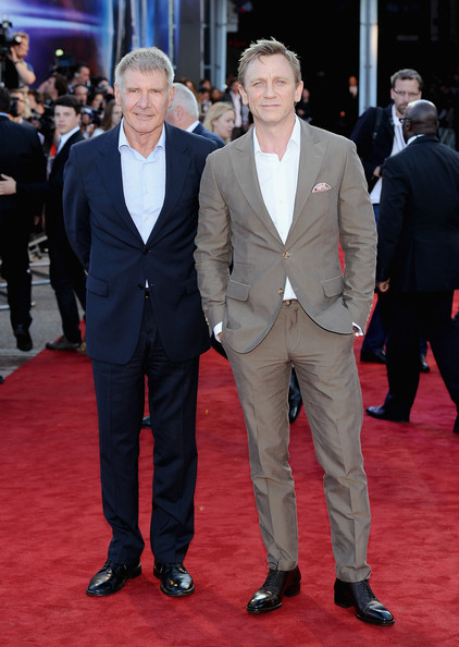 Actors Harrison Ford and Daniel Craig attend the 'Cowboys and Aliens' UK film premiere at  the 02 Arena on August 11, 2011 in London, England.