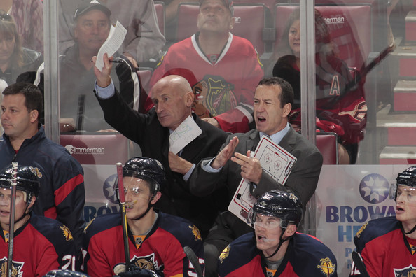 Chicago Blackhawks v Florida Panthers [ice hockey,product,team,fan,team sport,hockey,stick and ball games,competition event,event,championship,craig ramsay,kevin dineen,officials,attention,florida,bankatlantic center,sunrise,chicago blackhawks,florida panthers]