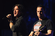 Creed's lead singer Scott Stapp and the band's guitarist Mark Tremonti (R) perform onstage at the Beacon Theatre on April 20, 2012 in New York City.