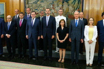 Cristobal Montoro King Felipe VI of Spain Presides Over the Meeting of the National Security Council