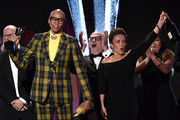 RuPaul (C) and fellow producers accept the Best Competition Series award for 'RuPaul's Drag Race' onstage during the Critics' Choice Real TV Awards at The Beverly Hilton Hotel on June 02, 2019 in Beverly Hills, California.