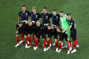 The Croatia players pose for a team photo prior to the 2018 FIFA World Cup Russia Round of 16 match between 1st Group D and 2nd Group C at Nizhny Novgorod Stadium on July 1, 2018 in Nizhny Novgorod, Russia.