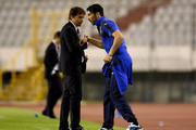 Head coach Italy Antonio Conte (L) and Gianluigi Buffon during the UEFA Euro 2016 Qualifier between Croatia and Italy on June 12, 2015 in Split, Croatia.