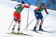Maiken Caspersen Falla of Norway (L) and Jessica Diggins of the United States compete during the Cross Country Ladies' Team Sprint Free Final on day 12 of the PyeongChang 2018 Winter Olympic Games at Alpensia Cross-Country Centre on February 21, 2018 in Pyeongchang-gun, South Korea.