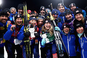 Gold medalists Kikkan Randall of the United States and Jessica Diggins of the United States celebrate with coaches and team mates after the Cross Country Ladies' Team Sprint Free on day 12 of the PyeongChang 2018 Winter Olympic Games at Alpensia Cross-Country Centre on February 21, 2018 in Pyeongchang-gun, South Korea.