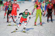 Maiken Caspersen Falla of Norway (front) competes during the Cross Country Ladies' Team Sprint Free semi final on day 12 of the PyeongChang 2018 Winter Olympic Games at Alpensia Cross-Country Centre on February 21, 2018 in Pyeongchang-gun, South Korea.