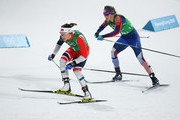 Maiken Caspersen Falla of Norway and Jessica Diggins of the United States compete during the Cross Country Ladies' Team Sprint Free Final on day 12 of the PyeongChang 2018 Winter Olympic Games at Alpensia Cross-Country Centre on February 21, 2018 in Pyeongchang-gun, South Korea.