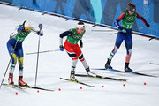 Stina Nilsson of Sweden, Maiken Caspersen Falla of Norway (L) and Jessica Diggins of the United States compete during the Cross Country Ladies' Team Sprint Free Final on day 12 of the PyeongChang 2018 Winter Olympic Games at Alpensia Cross-Country Centre on February 21, 2018 in Pyeongchang-gun, South Korea.