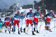 Emil Iversen of Norway, Alex Harvey of Canada, Iivo Niskanen of Finland, Martin Johnsrud Sundby of Norway, Niklas Dyrhaug of Norway and Hans Christer Holund of Norway compete during the Men's 50km Mass Start Classic on day 15 of the PyeongChang 2018 Winter Olympic Games at Alpensia Cross-Country Centre on February 24, 2018 in Pyeongchang-gun, South Korea.
