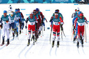 Iivo Niskanen of Finland, Martin Johnsrud Sundby of Norway, Emil Iversen of Norway, Alex Harvey of Canada lead the field during the Men's 50km Mass Start Classic on day 15 of the PyeongChang 2018 Winter Olympic Games at Alpensia Cross-Country Centre on February 24, 2018 in Pyeongchang-gun, South Korea.