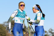 (L-R) Stina Nilsson of Sweden and Charlotte Kalla of Sweden talk before the Ladies' 30km Mass Start Classic on day sixteen of the PyeongChang 2018 Winter Olympic Games at Alpensia Cross-Country Centre on February 25, 2018 in Pyeongchang-gun, South Korea.