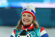 Silver medalist Maiken Caspersen Falla of Norway poses during the victory ceremony for the Cross-Country Ladies' Sprint Classic Final on day four of the PyeongChang 2018 Winter Olympic Games at Alpensia Cross-Country Centre on February 13, 2018 in Pyeongchang-gun, South Korea.
