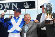 (L-R) Jockey Jim Cassidy, owner John Singleton and trainer Clarry Conners pose with the Crown Oaks trophy after Dear Demi victory in the Crown Oaks during 2012 Crown Oaks Day at Flemington Racecourse on November 8, 2012 in Melbourne, Australia.