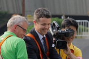Prince Frederik of Denmark wears a safety harness as he goes on a crane to make the world's tallest Lego World Tower during an event at the Seoul Olympic Stadium on May 13, 2012 in Seoul, South Korea. The Crown Prince and Crown Princess of Denmark are on a six-day visit to South Korea.